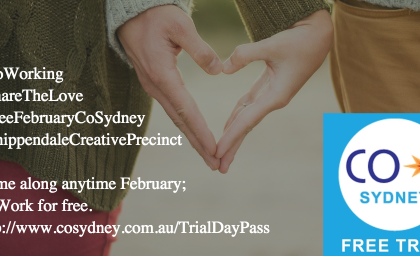 Share the Love this Valentine's Day – Free CoWorking at CoSydney this February 2016.